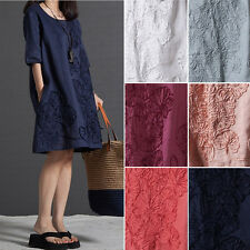 Retro Womens Cotton Linen Half Sleeve Gown Half Sleeve Loose Dress#Plus Size