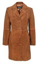 TRENCH coat 3457 Ladies Classic Knee-Length Designer Real Suede Leather jacket