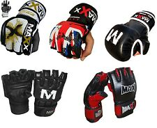 Maxx Leather Gel Tech MMA UFC Grappling Gloves Fight Boxing Punch Bag Boxing Mma