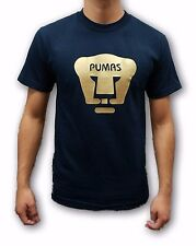 Pumas UNAM Navy Blue Color Men's Gold Logo T-Shirt