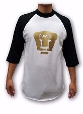 Pumas UNAM Black/ White Men's Gold Logo 3/4 Sleeve Shirt