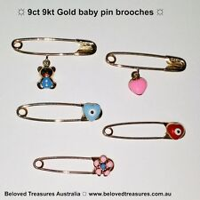 9ct yellow and rose gold baby pin brooches Lucky eye Heart Teddy Flower European