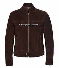 Men's 1345 BROWN SUEDE Classic TRUCKER Denim Style Western real Leather Jacket