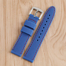 18/20/22/24mm Black/Blue Silicone Watch Strap Band for Women Men Bracelet Gift