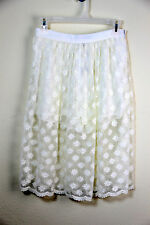 NWT Forever 21 Size S+M Ivory Lace Floral Embroidered Skirt w Short Sexy Cute