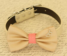 Champagne and coral dog bow tie collar, Pet Wedding accessory, Hearts, leather