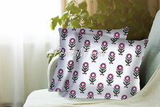 2 Pc Indian Floral Cushion Cover Block Printed Ethnic Throw Decor Pillow Case