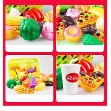 Kids Pretend Role Play Kitchen Toys Set Pizza Fruit Vegetables Food Playing