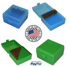 MTM Case Gard 100 Round Rifle Ammo Box 17 204 223 Rem 5.56x45 Green Blue Storage
