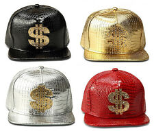 Men Women Hip Hop Street Gold Red Black Leather Baseball Snapback Gorras Hat Cap
