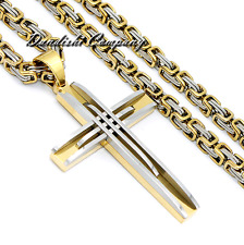 5mm Mens Silver Gold Tone 316L Stainless Steel Byzantine Chain PENDANT Necklace