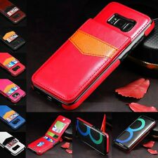 For Samsung Galaxy S8 S8+ Genuine Leather Credit Card Holder Wallet Case Cover