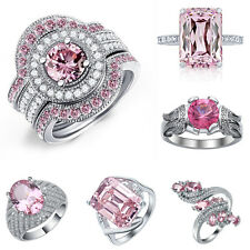 Woman Pink Sapphire 925 Silver Jewelry Ring Wedding Gift Engagement Size 6-10
