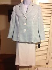 LE SUIT Summer Teal/White 2PC Skirt Suit, Size 6, 10, 14, 18, NWT