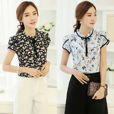 Women Lady Loose Short Sleeve Chiffon Casual Blouse Shirt Tops Fashion Blouse