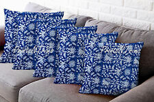 Indian Block Printed Cotton Pillow Throw Floral Cushion Cover Ethnic Decor 5 Pc