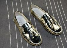 Mens Moccasin Tassels Patent Leather Slip On Loafer Driving Shoes Stylish golden