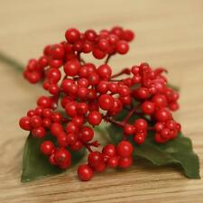 6PCS Artificial Berry Holly Branch Pick with Leaves Christmas Xmas Decor Wreaths