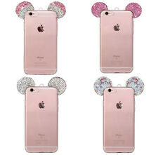New Cute Mickey Mouse Ear Sparkly Rhinestone Soft TPU Case Cover For iPhone