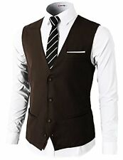 H2H Mens Formal Slim Fit Premium Business Dress Suit 4 Button Vests W/ Pocket