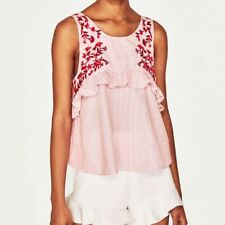 New Womens Floral Embroidered Ruffled Detail Sleeveless Blouse Tops Shirt SML