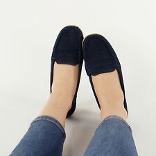 NICE Ladies Womens Suede Leather Slip On Driving Loafer Shoes Navy Blue
