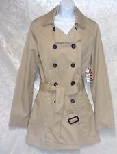 Bongo Juniors Woven Peacoat Double Breasted Tan Cotton Lined size M L NEW