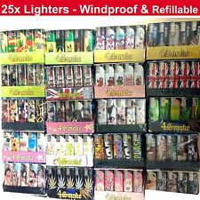 25x Windproof Electronic Refillable Adjustable Flame Lighters - Many Designs