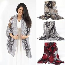 Sheer Burnout Velvet Scarf Shawl Beach Swimsuit Cover-up w/ Embroidered Floral