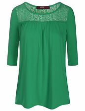CWTTS0100-MINT-M Doublju Womens 3/4 Sleeve Floral Lace Paneled Blouse Top MINT