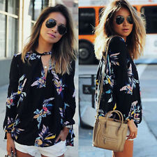 Ladies Women Casual Long Sleeve Blouse Sheer Summer Floral Shirt Tops T-shirt 7f