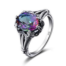 925 Sterling Silver Rings Victorian Design Filigree Mystic topaz  Ring size 4-11
