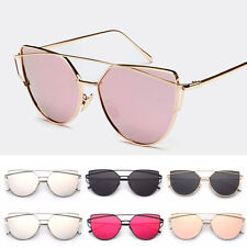 Women's Flat Lens Mirror Metal Frame Oversized Outdoor Cat Eye Sunglasses