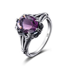 Amethyst 925 Sterling Silver Rings Victorian Design Filigree Ring size 4 5 6 -11
