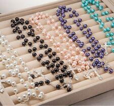 New Fashion  Rosary Beads Pearls Cross Pendant Long Beaded Necklace Chain