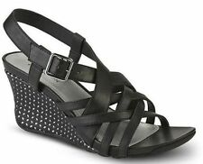 Womens Shoe Size 7.5 - 8 Covington Black Shoes Strappy Sandal 7 1/2 Wedge Heel