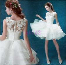 Womens Wedding Cocktail Evening Party Formal Lace Short Ball Gown Bridal Dress