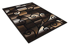 HG 4X6 CONTEMPORARY MODERN CIRCLES AND SQUARES BLACK, BROWN AND BEIGE