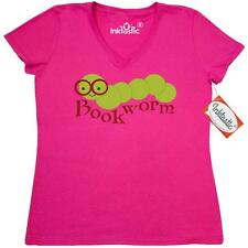 Inktastic Smiling Bookworm Women's V-Neck T-Shirt Reading Read Books Book Worm