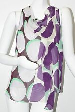 NEW Diane von Furstenberg DVF Renee Dot Shadow Large Purple Top Blouse Gray 6