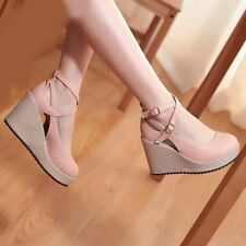 Womens Ladies Wedge High Heels Platform Round Toe Strappy Casual Sandal Shoes Sz
