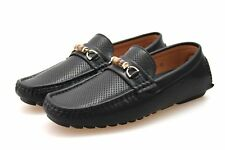 Mens Black Faux Leather Designer Slip On Moccasins Shoes Size 6 7 8 9 10 11