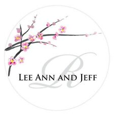 Cherry Blossom Pink White Personalized Round Stickers Wedding Favors Decorations