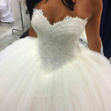 Sexy White/Ivory Wedding Dress Lace Bridal Gown Custom Size 6-8-10-12-14-16-18