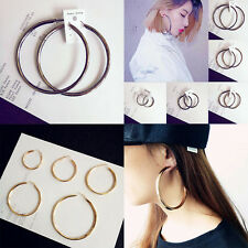 Circle Round Loop Hoop  Earrings for Women  Gold Plated Twisted  Sexy Oversized