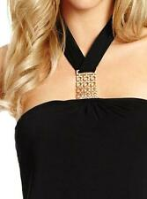 NEW WOMEN GUESS BY MARCIANO DINA HALTER SLEEVELESS GOLD DETAIL BLACK BLOUSE XS M