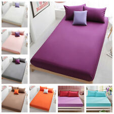 Solid Color Soft Cotton Flat Fitted Sheets Bed Coverlet Set Comfort Bed Covers