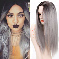 Costume Cosplay Dark Root Grey Ombre Wig 26'' Straight Synthetic Wigs for Women