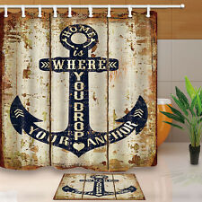 Home is where you drop your anchor Shower Curtain Waterproof Fabric w/12 Hooks