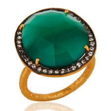Faceted Green Onyx Gemstone Prong Set CZ Ring 22k Gold Plated Fashion Jewelry